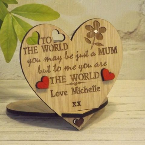 Personalised Wooden Heart You Are The World Mummy Mum Mothers Day Gift